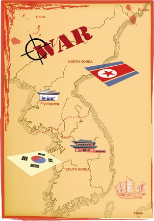 south korea: Map of North and South Korea. Confrontation and war. Illustration