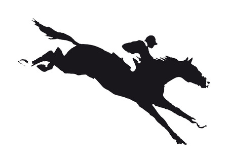 overcome: drawing a horse with a jockey participating in the competition obstacles to overcome - Jumping.
