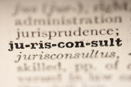 Word jurisconsult from the old dictionary, a close up. photo