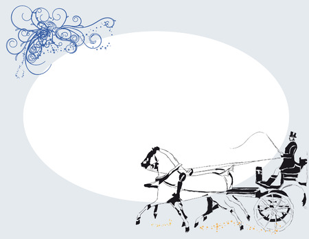 Backdrop for wedding design with a pair of horses harnessed to a carriage.