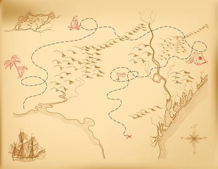 경로를 나타내는 섬의 오래된지도. 일러스트