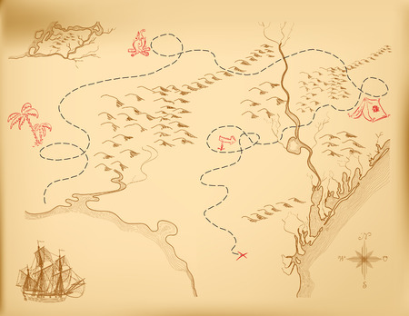 frigate: An old map of the island, indicating the route.