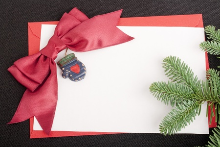 Congratulatory letter with a red envelope and a scarlet ribbon.