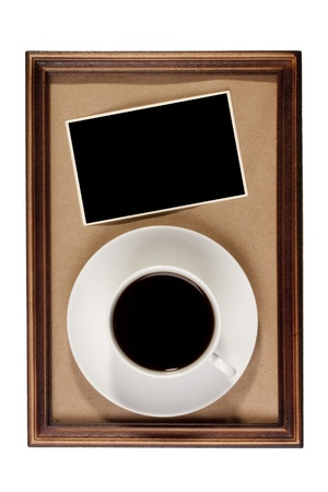 Wooden frame with paper craft in the background with a cup of coffee. Stock Photo - 8450534