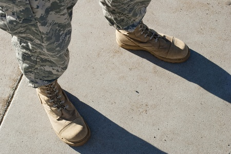 infantryman: Soldier in camouflage pants and army boots. Stock Photo