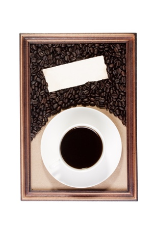 Wooden frame with paper craft in the background with a cup of coffee. Stock Photo - 8520008