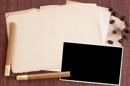 horologe: Old tattered sheets of paper on brown wood background for design creativity. Stock Photo