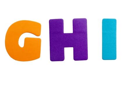 Een set van alfabet letters in de vorm van stickers op een witte achtergrond.