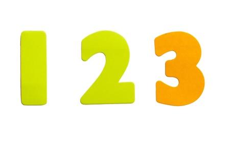 Een set nummer 123 in de vorm van stickers op een witte achtergrond.