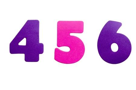 Een set nummer 456 in de vorm van stickers op een witte achtergrond.