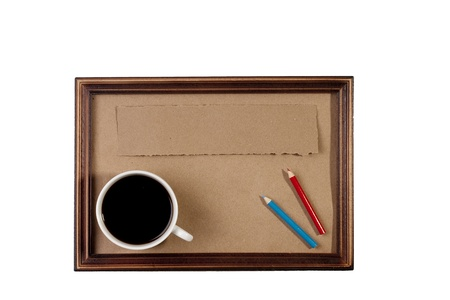 Wooden frame with paper craft in the background with a cup of coffee. Stock Photo - 8571467