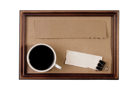Wooden frame with paper craft in the background with a cup of coffee. Stock Photo - 8658990