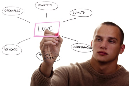Man writing out the components of love. Stock Photo - 8748267
