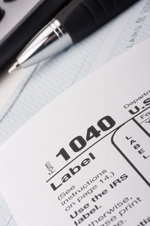 annually: Form 1040 for filing tax returns in the U.S.. Stock Photo
