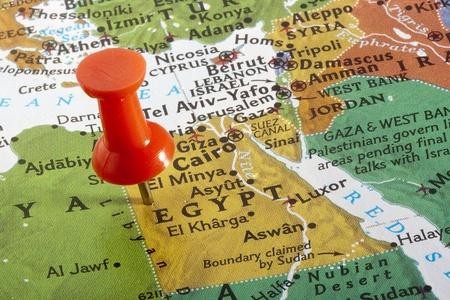 Pa�s de Egipto depositado en un mapa del mundo. Foto de archivo - 8748716