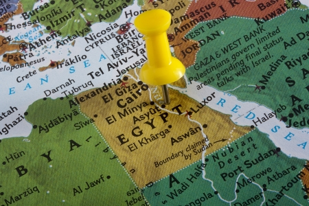 Country of Egypt pinned on a world map. photo