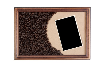 Wooden frame with paper craft as a basis, the coffee beans.