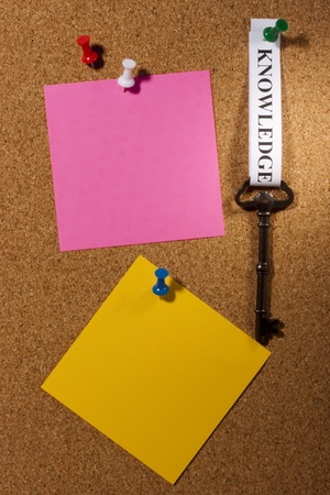 Key with a knowledge tag pinned on a brown board. Add your text to the background. Stock Photo - 8751779