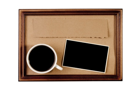 Wooden frame with paper craft in the background with a cup of coffee. Stock Photo - 8860389