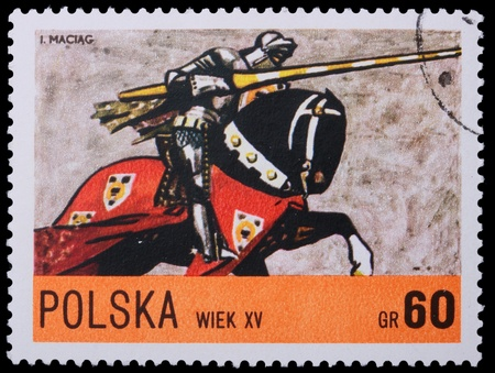 Poland - CIRCA 1967: A stamp is printed in Poland, knight, CIRCA in 1967.