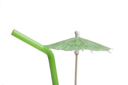 tubule: Paper umbrella and tubule to decorate the glasses with a cocktail.