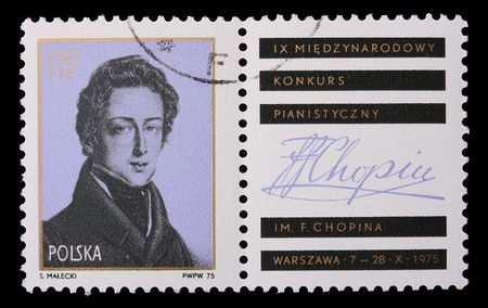 frederic chopin: Poland - CIRCA 1975: A stamp is printed in Poland, Frederic Chopin, CIRCA in 1975. Editorial