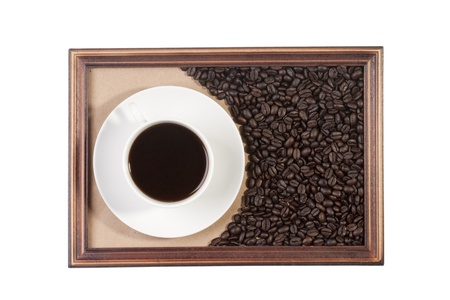 Wooden frame with paper craft in the background with a cup of coffee. Stock Photo - 9009499