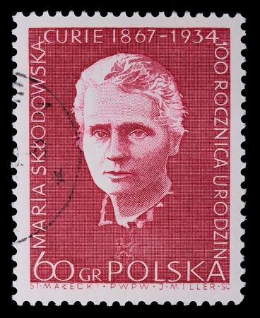 Poland - CIRCA 1964: A stamp is printed in Poland, Maria Sklodowska, CIRCA in 1964. Imagens