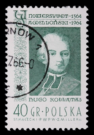 Poland - CIRCA 1964: A stamp is printed in Poland, Hugo Kollataj, CIRCA in 1964. Archivio Fotografico