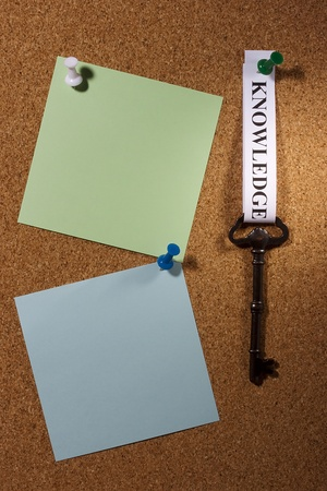 Key with a knowledge tag pinned on a brown board. Add your text to the background. Stock Photo - 9009583