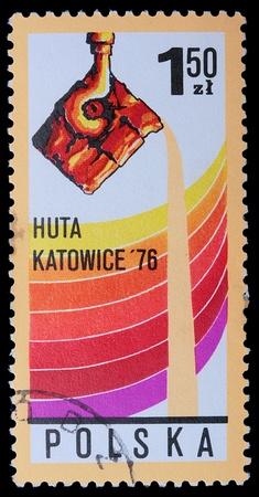 Polonia - CIRCA 1976: Un francobollo è stampato in Polonia, HUTA Katowice, CIRCA nel 1976. Archivio Fotografico - 9128867