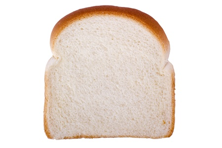 carbs: Slice of white bread isolated on a white background. Stock Photo