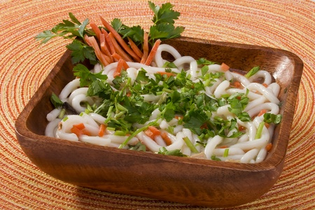 asian noodle: Asian noodle soup in a brown wooden bowl.