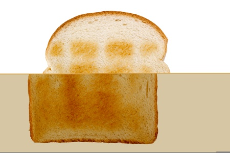 burnt toast: Slice of toasted white bread isolated on a white background. Stock Photo