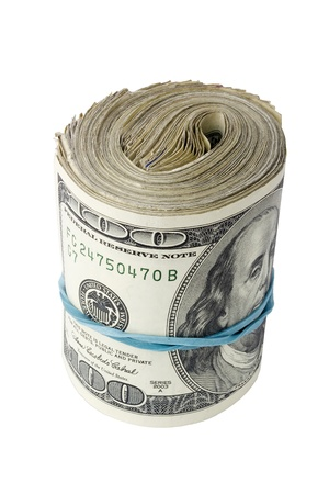 Roll of American money isolated on a white background. Stock Photo - 9171753