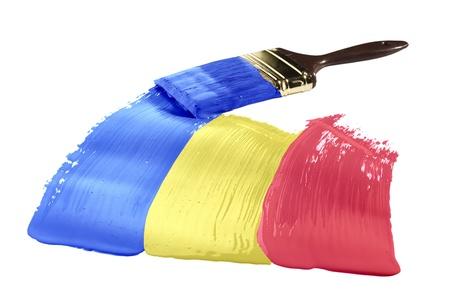 Concept van lijnen verven met de kleuren van de vlag van Andorra.