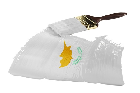 Concept of paint strokes with the colors of the flag of Cyprus.