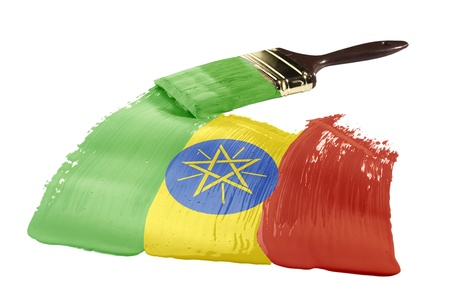 Concept of paint strokes with the colors of the flag of Ethiopia. Stock Photo - 9294772