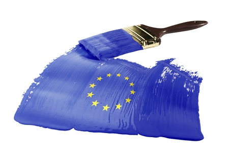 Concept of paint strokes with the colors of the flag of the European Union. Stock Photo - 9294774
