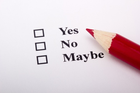 A red pencil laying on an opinion poll. Stock Photo - 9308181