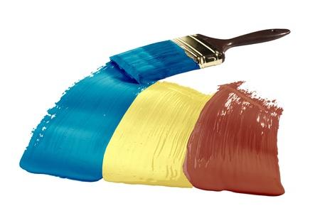 Concept van lijnen verven met de kleuren van de vlag van Roemenië. Stockfoto