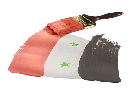 Concept van verfstreken met de kleuren van de vlag van Syrië.