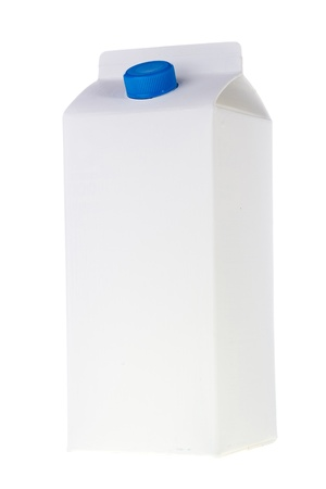 White milk or juice carton box isolated on a white background. photo
