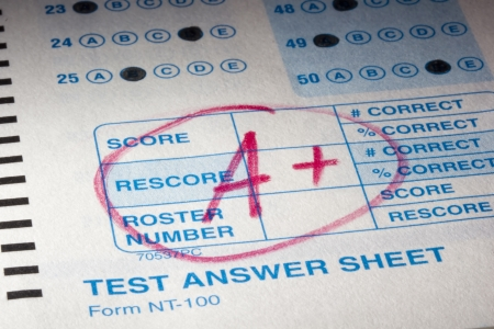 Close-up photograph of a perfect grade on a scantron test. photo