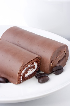 Chocolate rolled cake with a stuffing as a light meal.