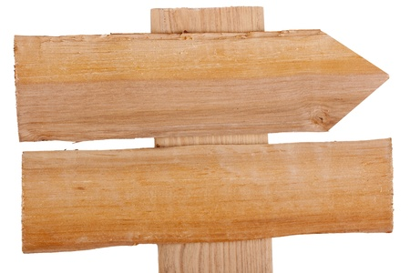 Old wooden signpost on a white background. photo