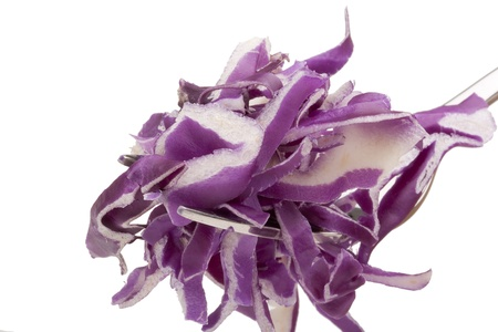 Shredded cabbage purple color on the plug. Stock Photo