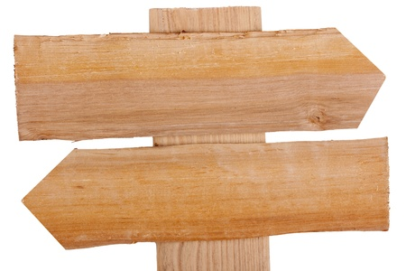 Old wooden signpost on a white background. Stock Photo