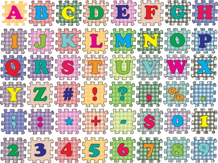 Alphabet, numbers and symbols into vector form a puzzle.