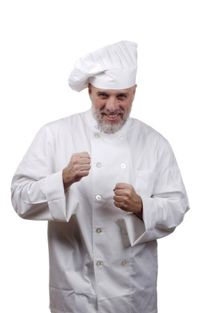 Portrait of a chef in a chef's hat and uniform isolated on a white background. Stock Photo - 9969994